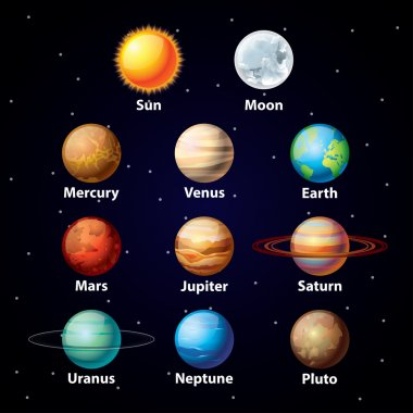 Glossy planets vector set