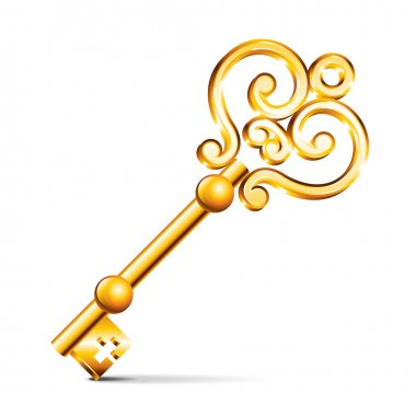 Golden key isolated on white photo-realistic vector illustration stock vector