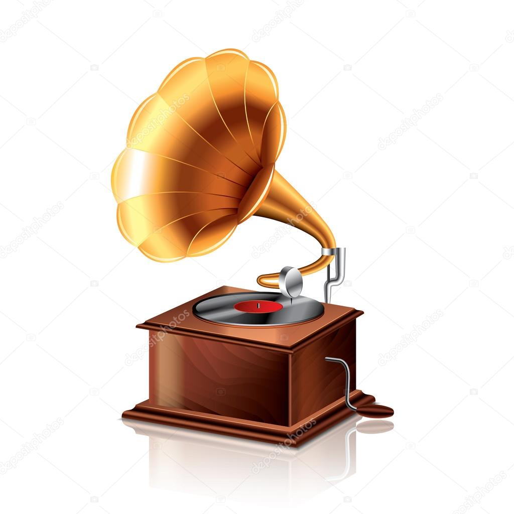 classic gramophone isolated on white photo realistic vector illustration premium vector in adobe illustrator ai ai format encapsulated postscript eps eps format https wdrfree com stock vector download classic gramophone vector illustration 40915993