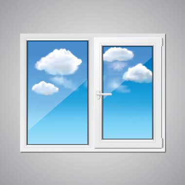 Plastic window and blue sky vector illustration