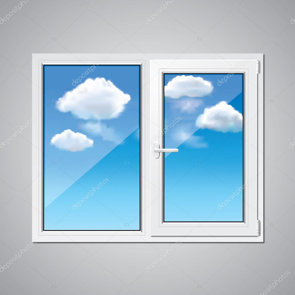 Plastic window and blue sky vector illustration stock for Window plastic