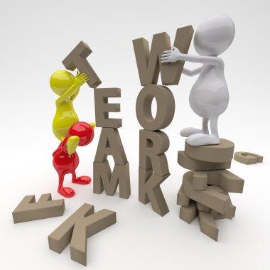 3D man Working on Teamwork Word