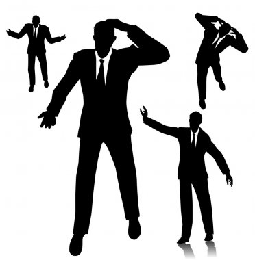 confused businessman silhouette