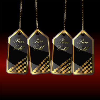 labels gold black with gold chain