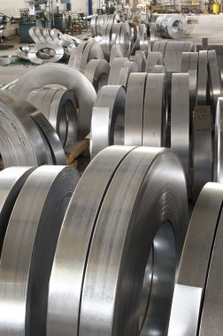 sheet tin metal rolls in production hall
