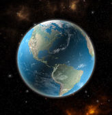 Photo View on the Earth from space showing North and South America - Elements of this image furnished by NASA
