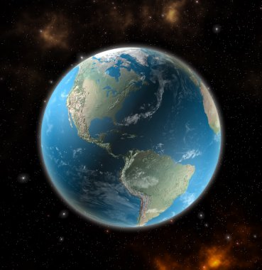 View on the Earth from space showing North and South America - Elements of this image furnished by NASA