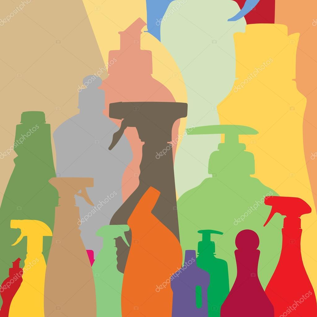 Haushalt Flaschen Silhouetten — Stockvektor © quka #50321939