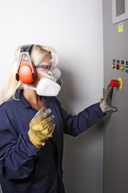 Woman working in masks
