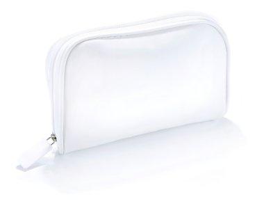 Ladies handbag white, Closed white cosmetic bag with handles iso