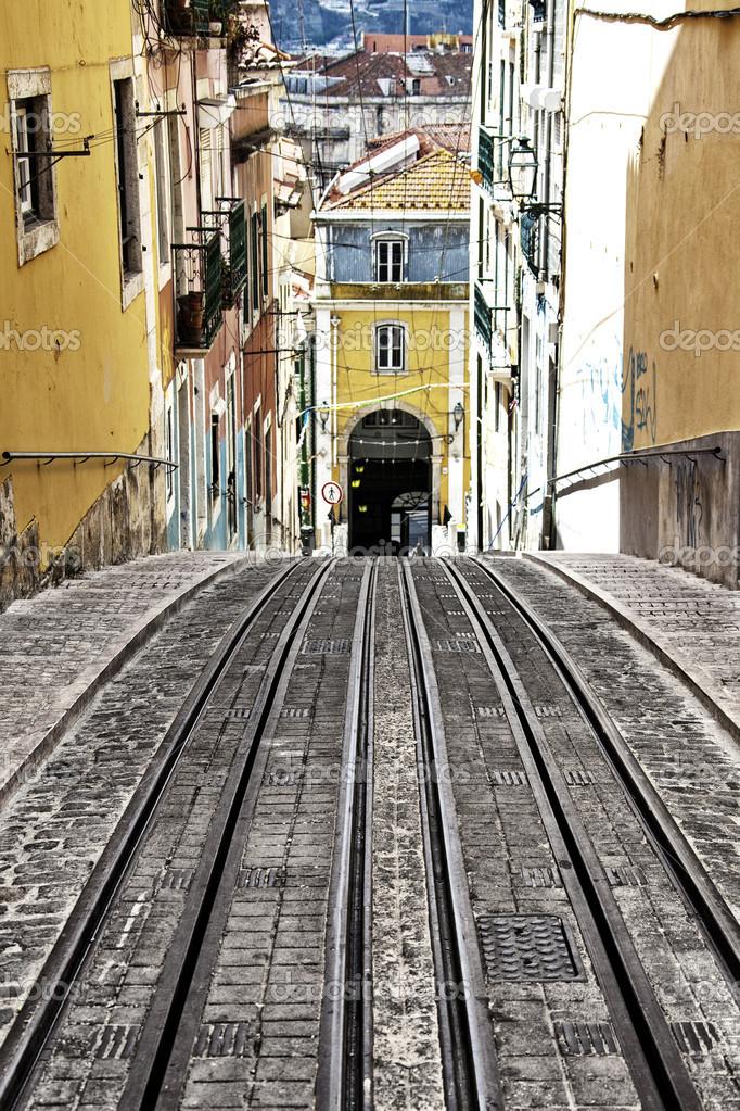 Bica Elevator Tram In Lisbon Portugal Stock Photo C Policarpo