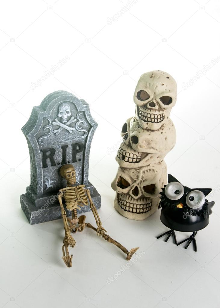 Decorazione Di Lapide Teschi Di Halloween Foto Stock