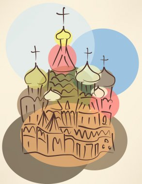 bubble blower sketch of traditional russian church