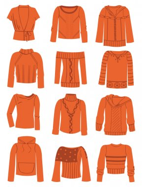 A set of silhouettes of women's sweaters stock vector