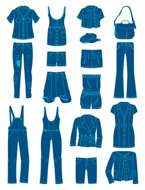 A set of silhouettes of jeans wear stock vector