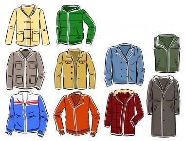 Set of winter and spring jackets for men stock vector