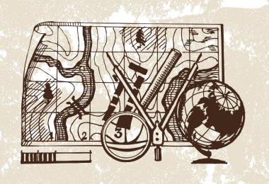 Geodesy. Vector illustration clip art vector