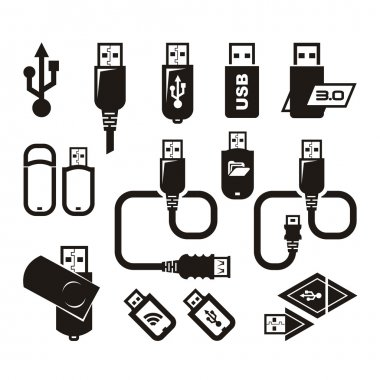 USB icons. Vector format