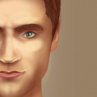 Man's face. Vector format