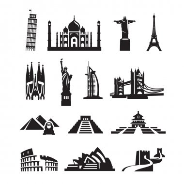 World sights icons. Vector format