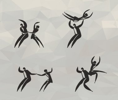 Skating on ice icons. Vector format