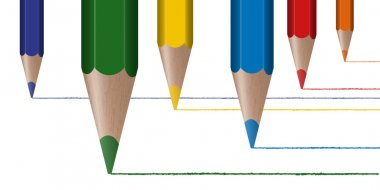 Six colored pencils draw lines