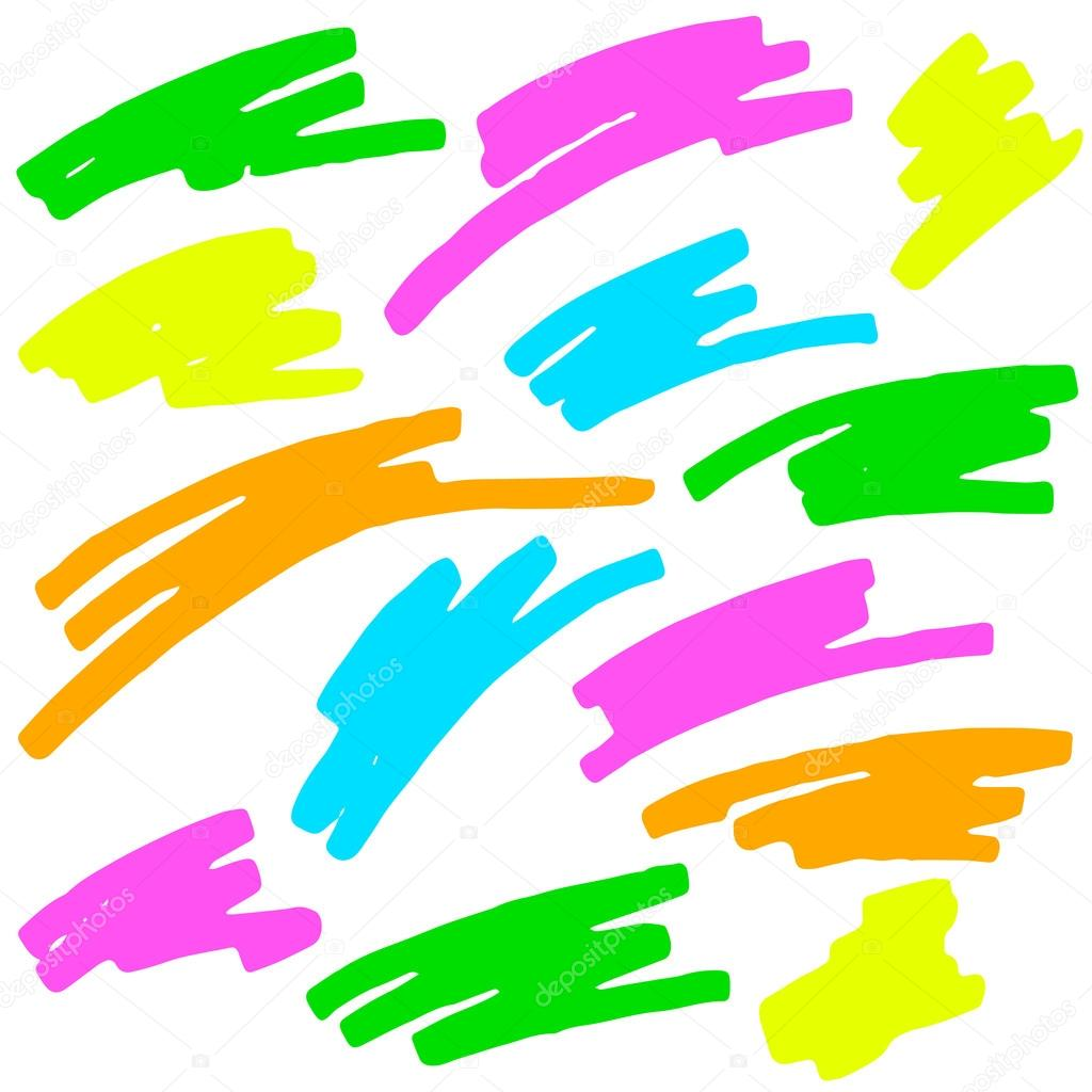 Colored markings of a highlighter pen