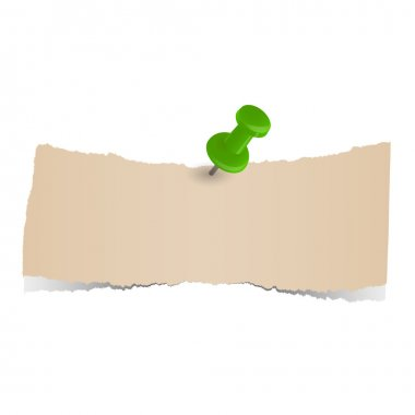 Brown scraps of paper with pin