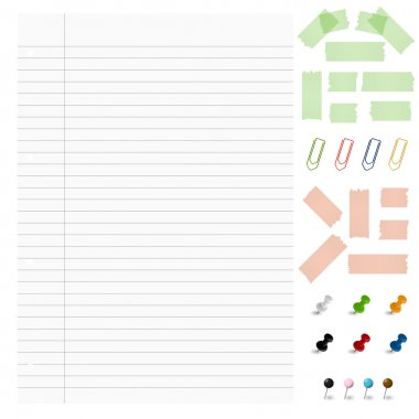 Set - Blank paper with office accessories