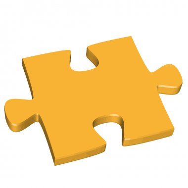 3D puzzle piece yellow