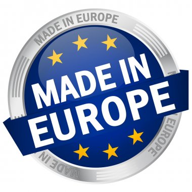 Button with banner Made in Europe