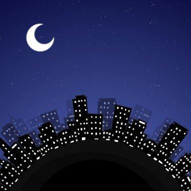 Cartoon earth city at night