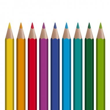 9 colored pencils in a row