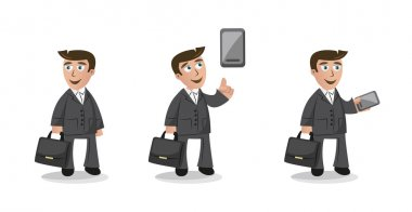 Funny cartoon businessman character in three poses with mobile phone