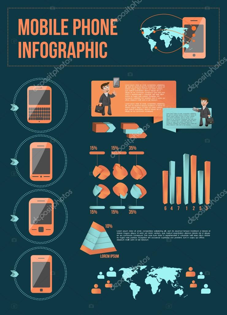 Mobile phone infographic with elements
