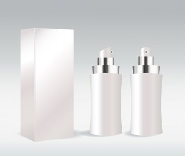 White cosmetic container for face cream, gel, serum or foundation
