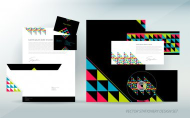 Colorful stationery set with triangle