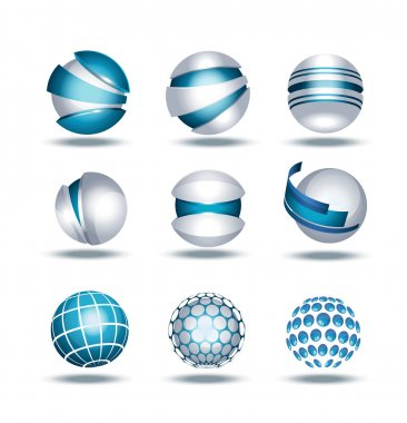 Globe sphere 3d icons set vector illustration isolated on background stock vector