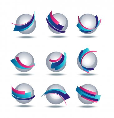 Abstract 3d icon set with colorful stripes
