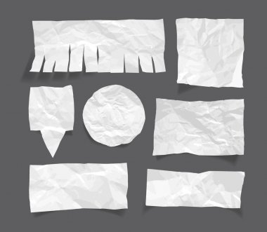 White blank wrinkled paper message notes