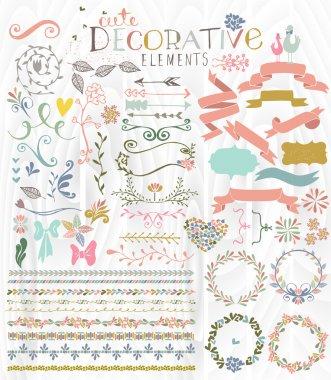 Cute stylish decorative elements