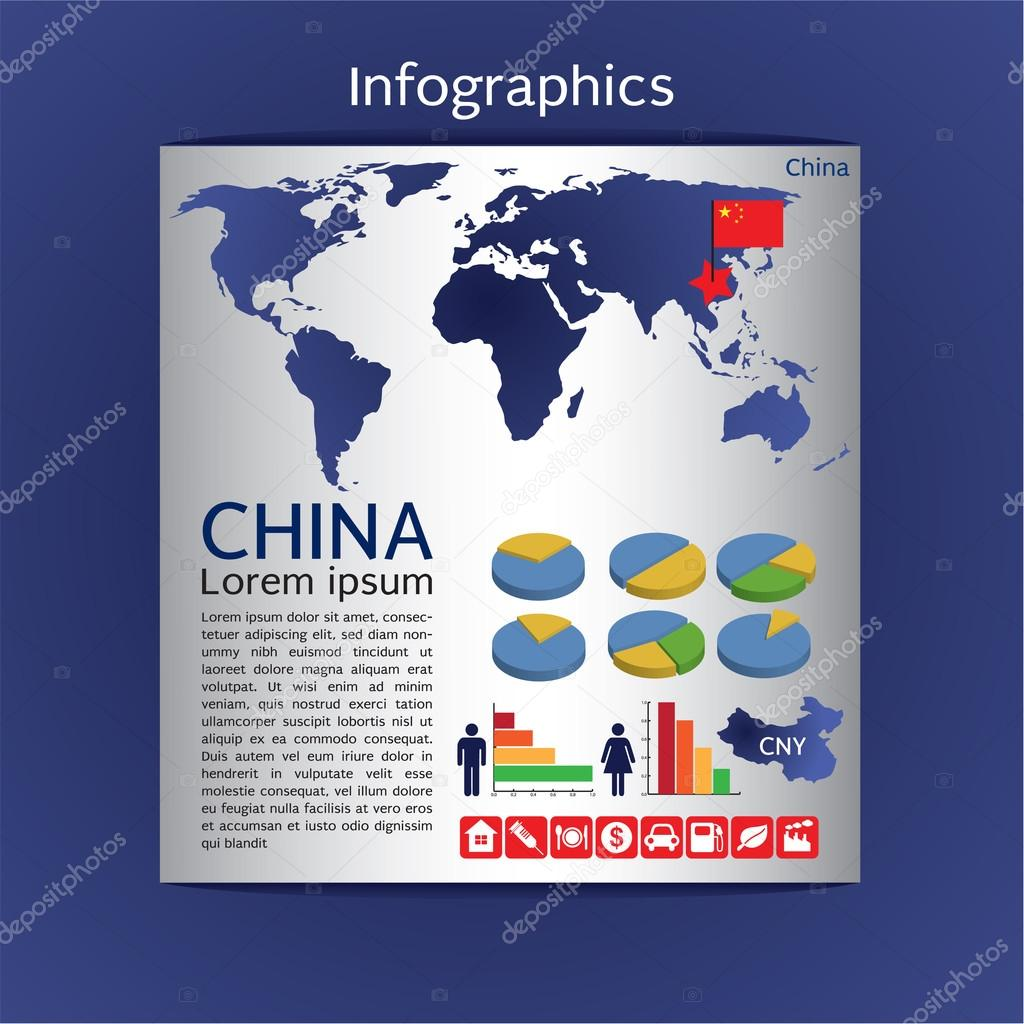 Infographic map of China