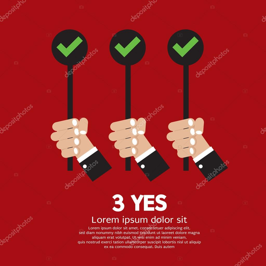 Yes Three Choices Vector Illustration