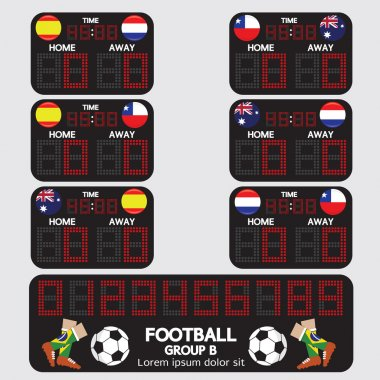 Scoreboard Football Tournament Vector Illustration