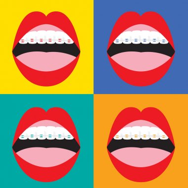 Braces Corrective Orthodontics On Colorful Background