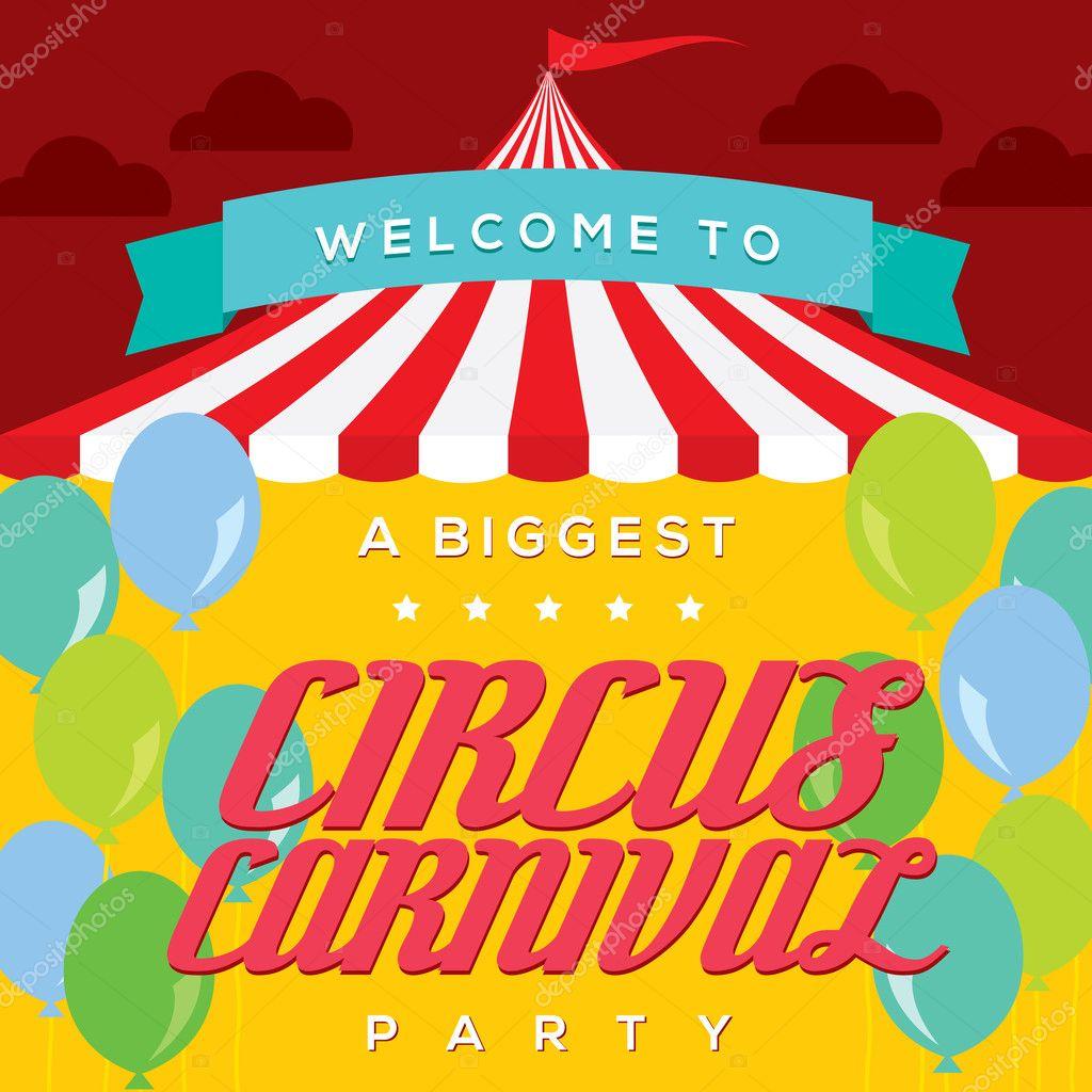 Circus Carnival Poster Template Stock Vector