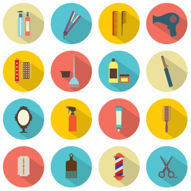 Flat Design Hairdressing Icons Set 16