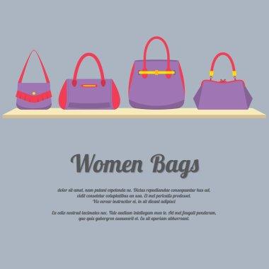Women Handbags Display On Shelf