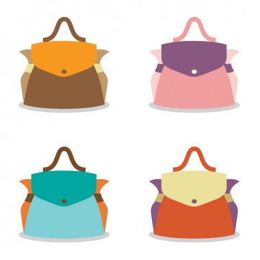 Set of Colorful Women Bag on White Background