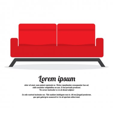 Red Two Seat Sofa Vector Illustration
